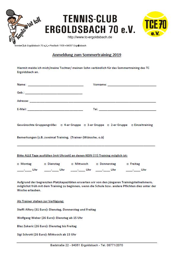 Anmeldung Tennistraining 2019